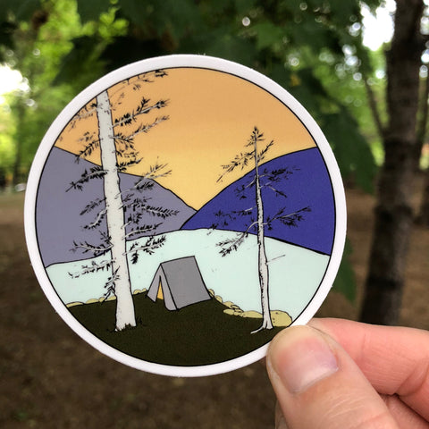 Camping at the Lake Sticker-Vinyl Sticker-Roam Wild Designs