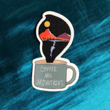 coffee and mountains camping sticker - roam wild designs