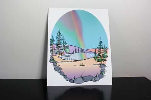 Rainbow Cabin 11x14in Art Print