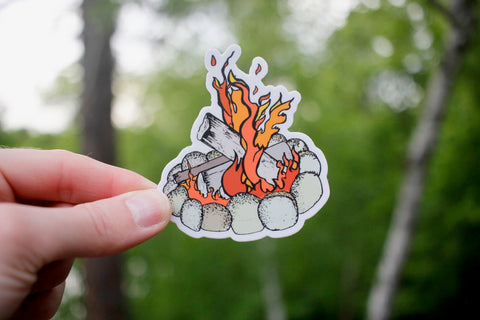 Round the Campfire Sticker-Vinyl Sticker-Roam Wild Designs