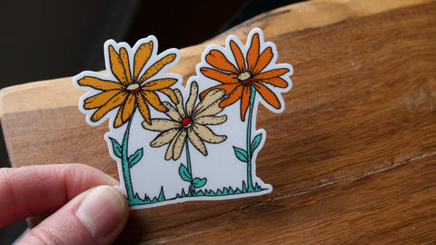 Three Daisies Vinyl Sticker-Vinyl Sticker-Roam Wild Designs