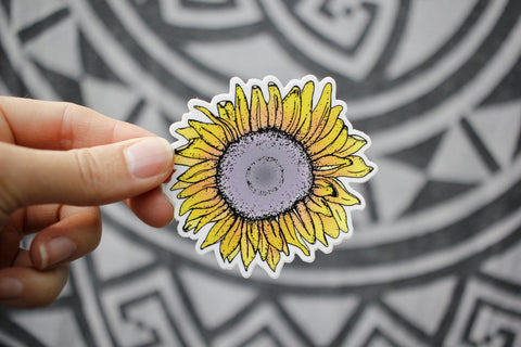 Sunflower Love Sticker-Vinyl Sticker-Roam Wild Designs