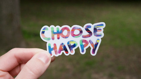 Choose Happy Vinyl Sticker-Vinyl Sticker-Roam Wild Designs