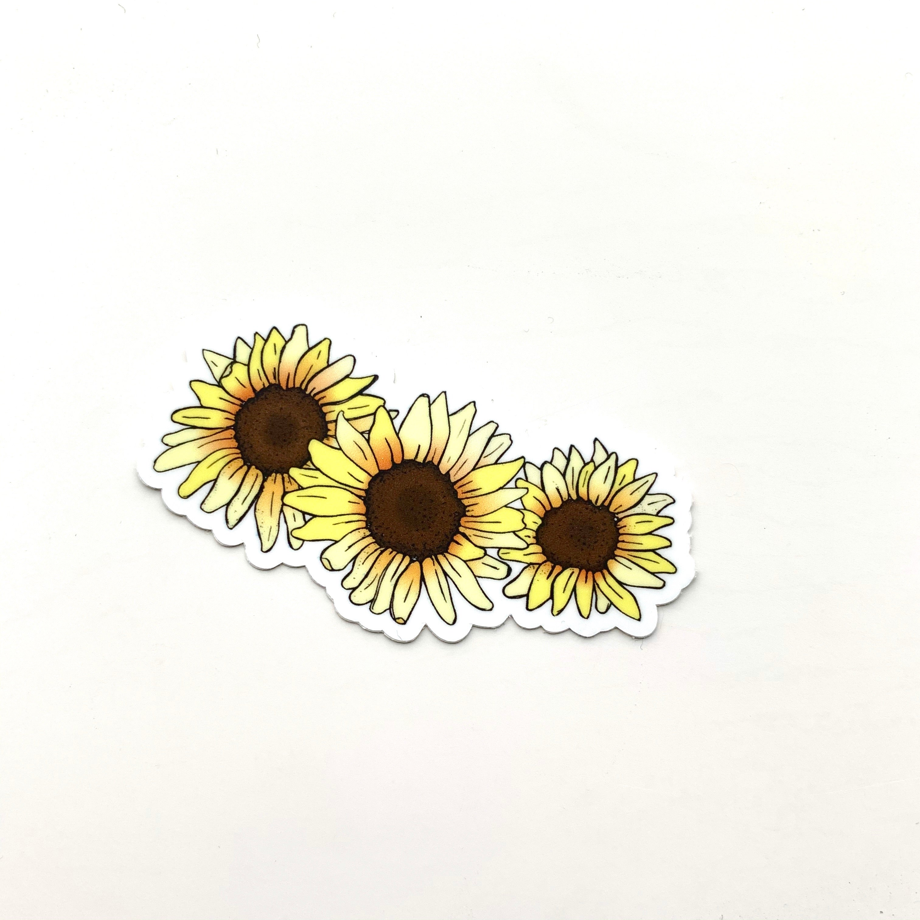 Three Sunflower Sticker-Vinyl Sticker-Roam Wild Designs