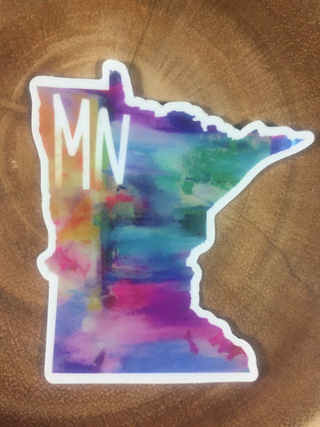 MN in Color Sticker-Vinyl Sticker-Roam Wild Designs