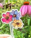 Brightly colored flower sticker pink blue and yellow flowers