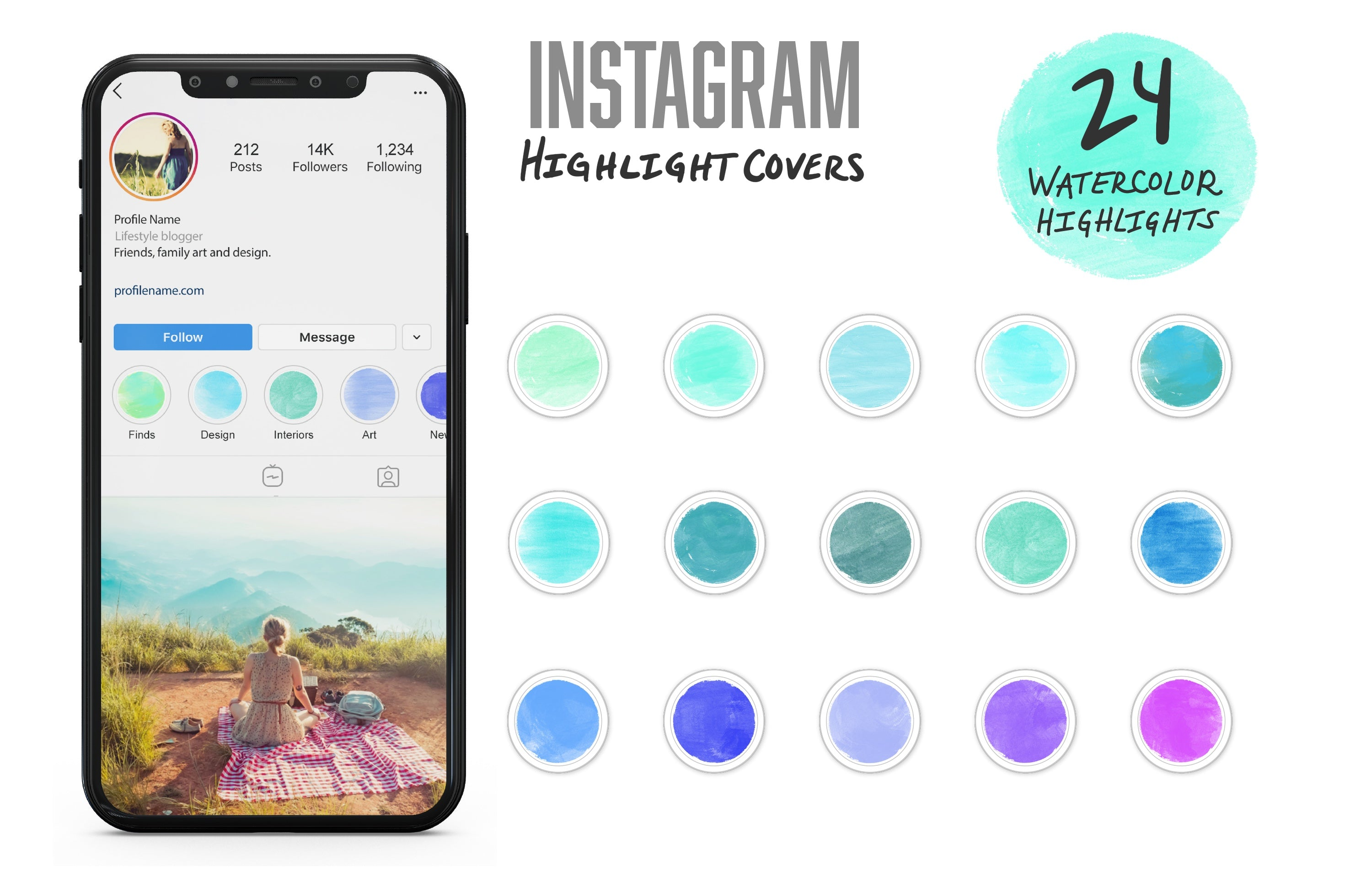 Instagram Watercolor Highlight Covers: 24 Hand Painted Pastel Watercolor Story Icons-Roam Wild Designs