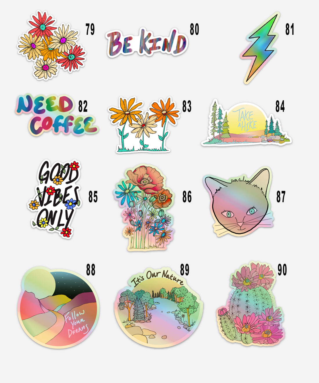 Customizable 3 Sticker Set Gift Pack, 3 Stickers of Your Choice and 1 Hand Drawn Envelope-Vinyl Sticker-Roam Wild Designs