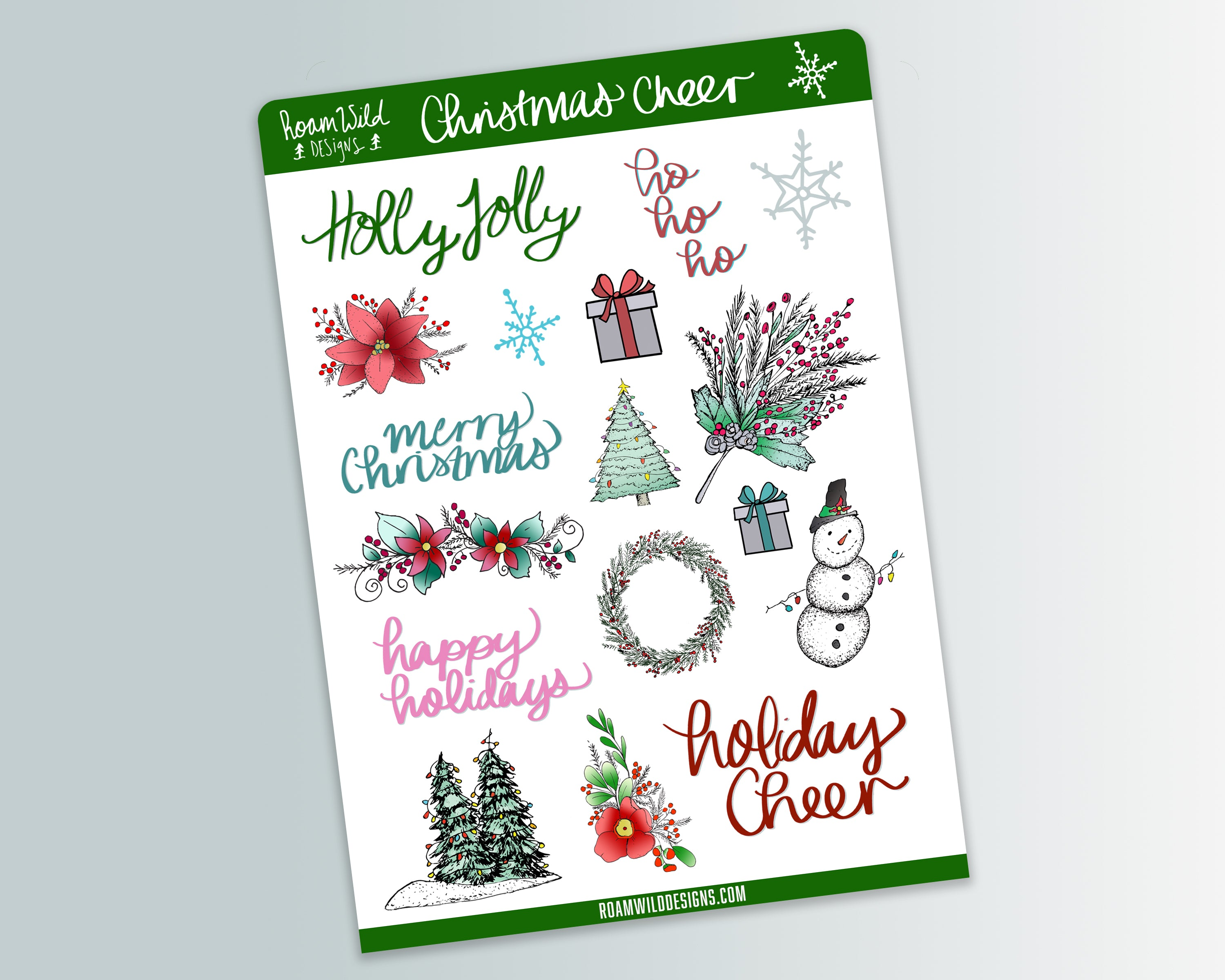 Christmas Cheer Planner Sticker Sheet-Vinyl Sticker-Roam Wild Designs