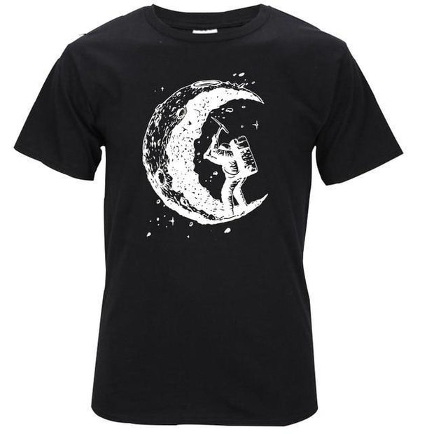digging the moon print mens t shirts - GIGI & POPO