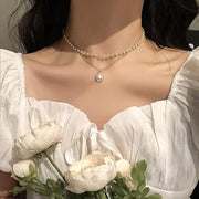 Double layer Chain Gold Choker Necklace - GIGI & POPO