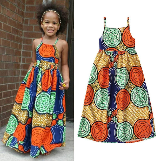 Ethnic Print Suspenders Princess Dress - GIGI & POPO
