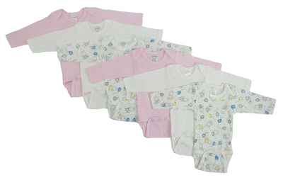 Girls' Long Sleeve Printed Onesie Variety 6 Pack - GIGI & POPO