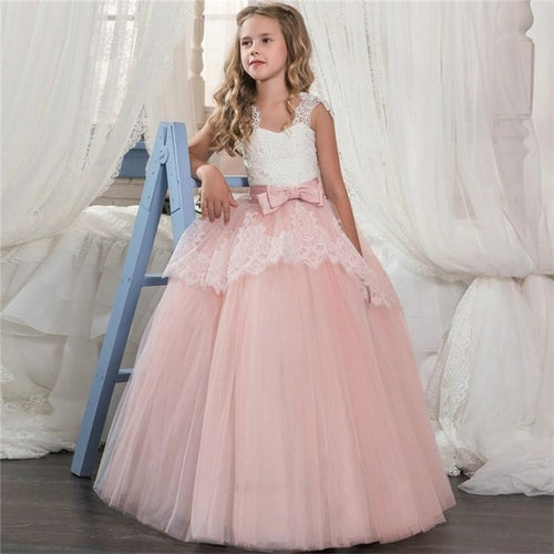Girl's Prom Wedding Bridesmaid Long Dress with Lace