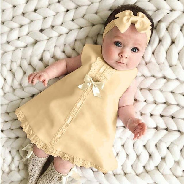 Lace Hem Sleeveless Baby Dress with Headband 2-piece set - GIGI & POPO