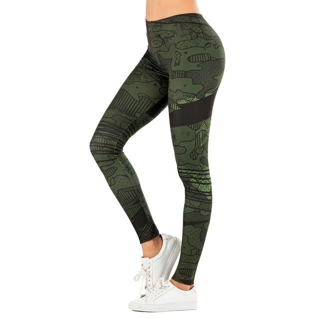 leaf Printing High Waist Leggings - GIGI & POPO
