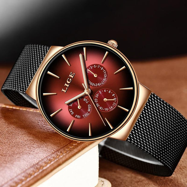 Men Mesh Steel Waterproof Ultra-thin Wristwatch - GIGI & POPO