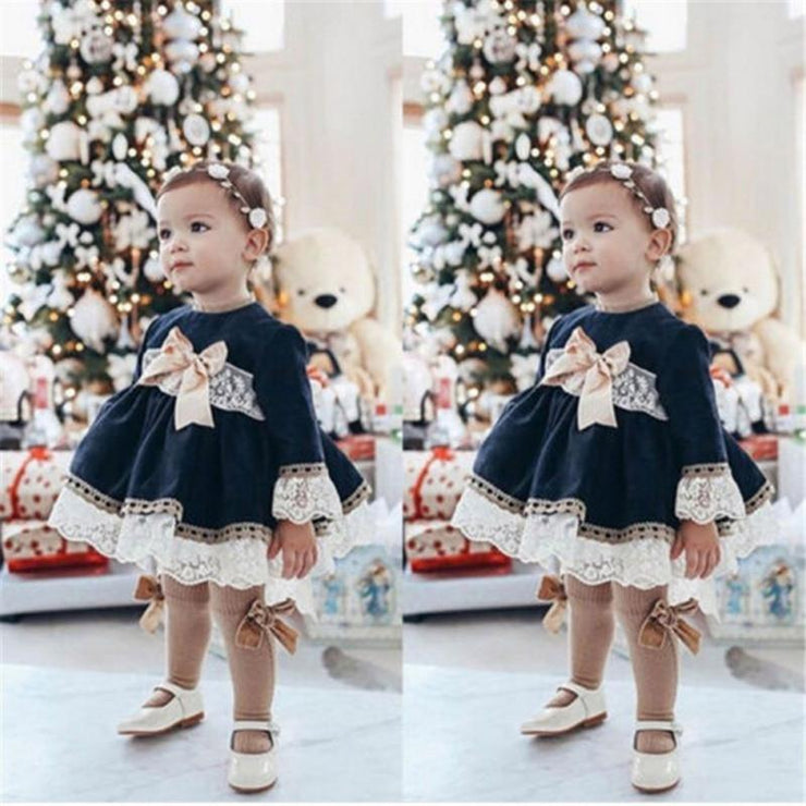 New Spring Baby Girls Clothes Casual Lace Bow Cotton Long Sleeve Princess Dresses For Girl - GIGI & POPO