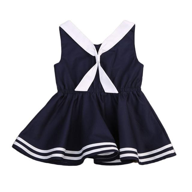 Newest 1PC Sleeveless Casual Baby Girls Dress Tie Summer Party Princess Wedding Dresses - GIGI & POPO