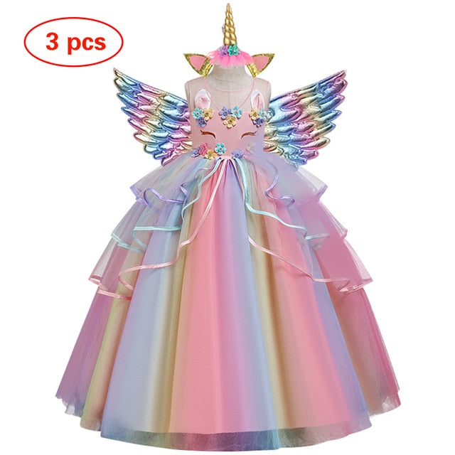 Unicorn Tulle Rainbow Dress Set with a hairband and Wings