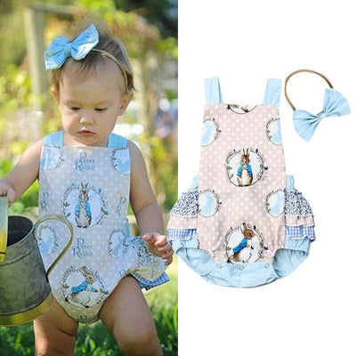 Rabbit Bunny Romper ruffle Jumpsuit for Baby Girl - GIGI & POPO