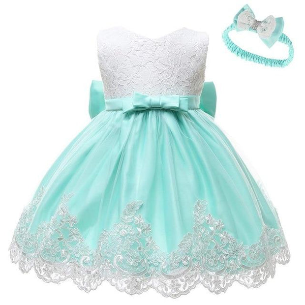 Sleeveless Bowknot Baby Girl Lace Dress - GIGI & POPO