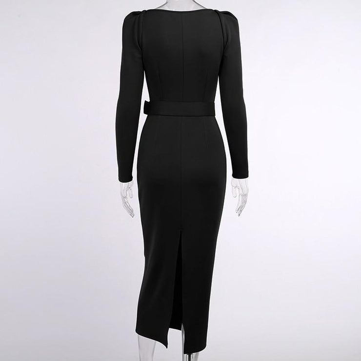 Slim V Neck Long Sleeve Mid Calf Pencil Dress with Puff Sleeve - GIGI & POPO