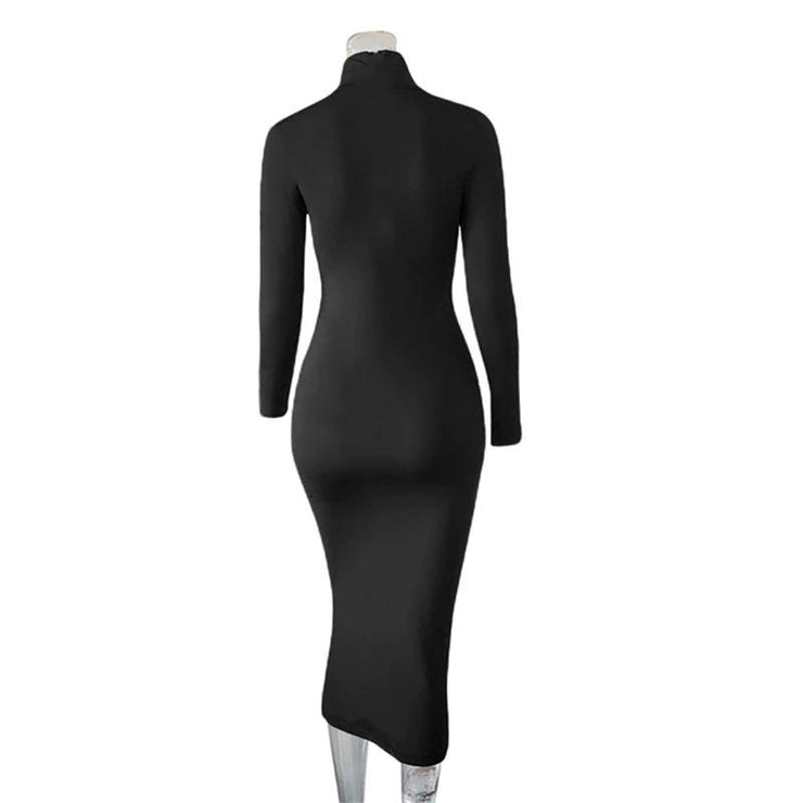 Turtleneck Bodycon Midi Dress - GIGI & POPO