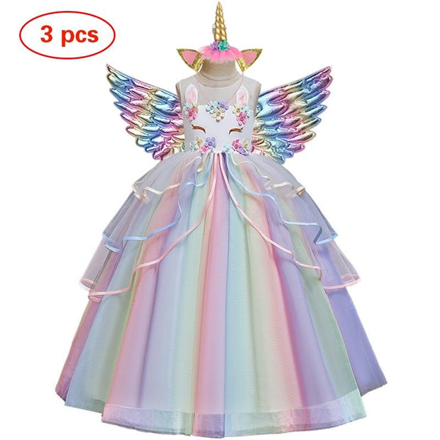 Unicorn Tulle Rainbow Dress Set with a hairband and Wings - GIGI & POPO