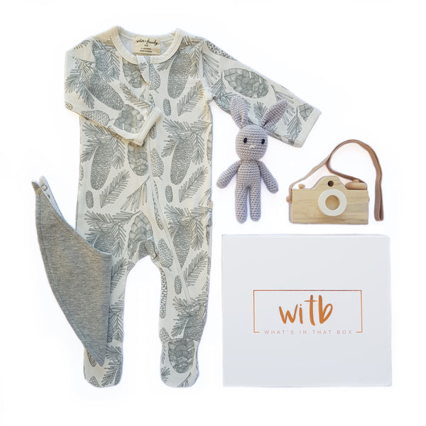 Baby hamper, newborn hamper, new mum hamper, baby shower hampers, baby boy hampers, baby girl hampers, unisex baby hampers - Forest Grey