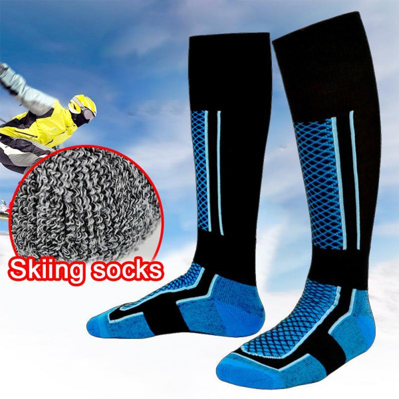 1 Pair Unisex Ski Socks Winter Warm Long Socks Men Walking Hiking Sports Towel Socks Wearproof Thermal Breathable Knee High Sock - Maverick Mall