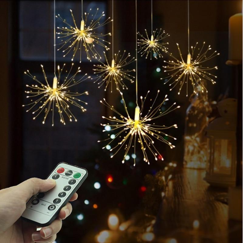 Festival Hanging Starburst String Lights 100-200 Leds DIY firework Copper Fairy Garland christmas lights outdoor Twinkle Light - Maverick Mall