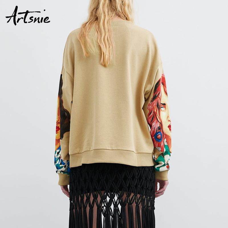 Artsnie streetwear character print women sweatshirt spring 2019 o neck long sleeve pullover knitted oversized hoodie sweatshirts - Maverick Mall