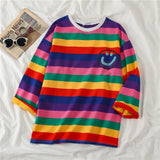 Korean Women shirts letters stripe Kawaii tops O-Neck All-match Students t-shirts autumn Harajuku Loose Clothing Casual T shirt - Maverick Mall