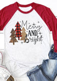 Women Christmas Merry And Bright Baseball T-Shirt Tee Femme Harajuku Rave Festival Three Quarter Raglan Sleeve Top Plus Size