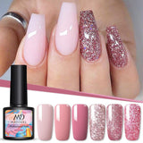 MAD DOLL 8ml UV Gel Nail Polish Rose Gold Glitter Sequins Soak Off UV Gel Varnish Color Nail Gel Polish DIY Nail Art Lacquer
