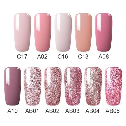 MAD DOLL 8ml UV Gel Nail Polish Rose Gold Glitter Sequins Soak Off UV Gel Varnish Color Nail Gel Polish DIY Nail Art Lacquer - Maverick Mall