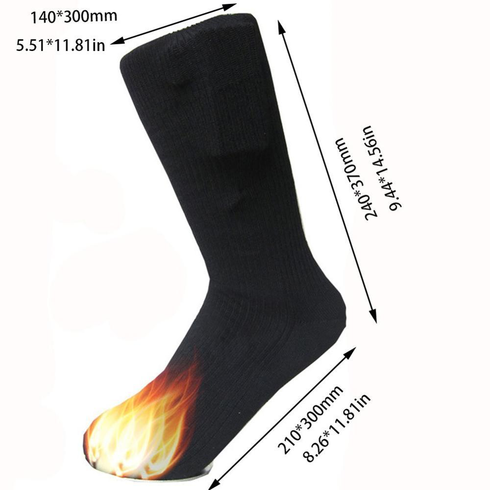 2019 Heated Socks Men Rechargeable Battery Winter Electric Heating Socks Double Layer Warm Sock 3V Thermal Cotton Warming Socks (Black) - Maverick Mall
