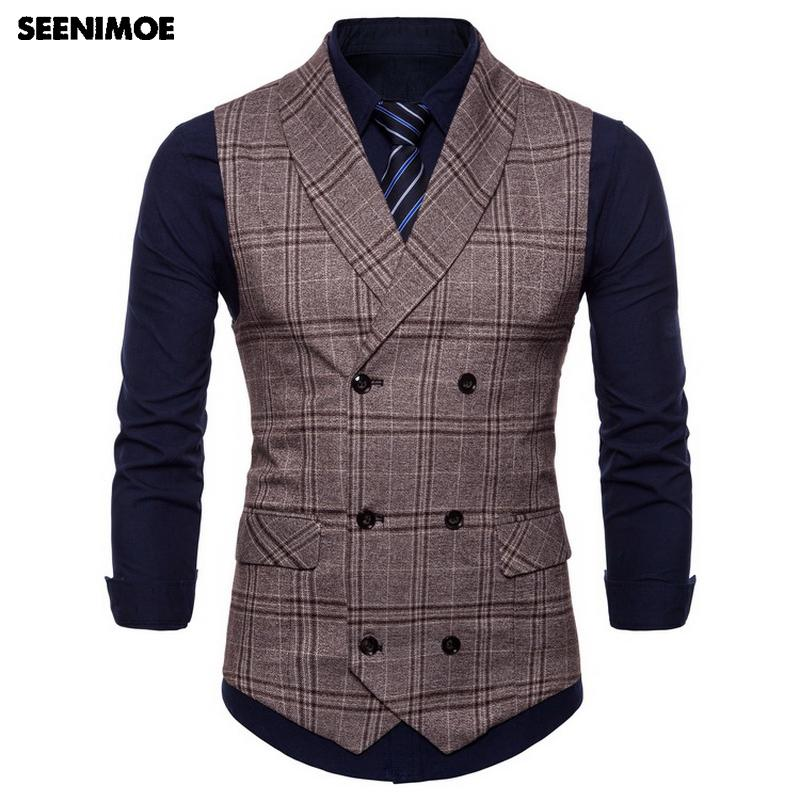 Mens Waistcoats Stripe Plaid Formal Blazer Vests - Maverick Mall