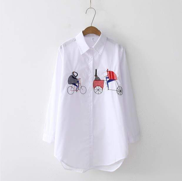 NEW White Shirt for Women Casual Wear Button Up Turn Down Collar Long - Maverick Mall