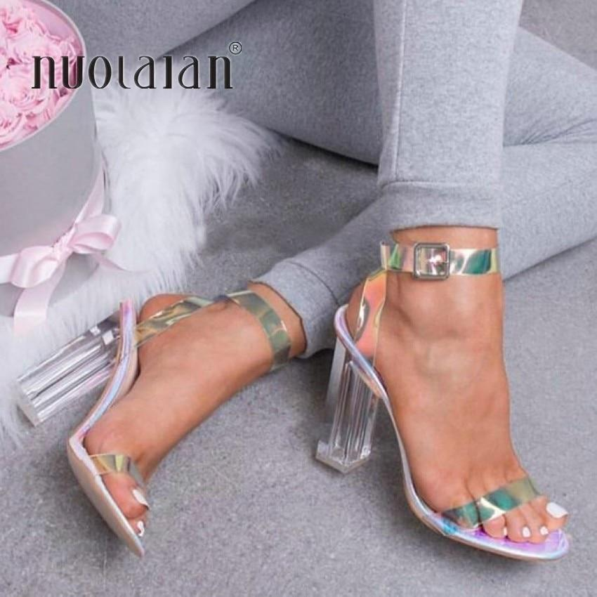 2019 Women Sandals Shoes Celebrity Wearing Simple Style PVC Clear Transparent Strappy Buckle Sandals High Heels Shoes Woman- Maverick Mall