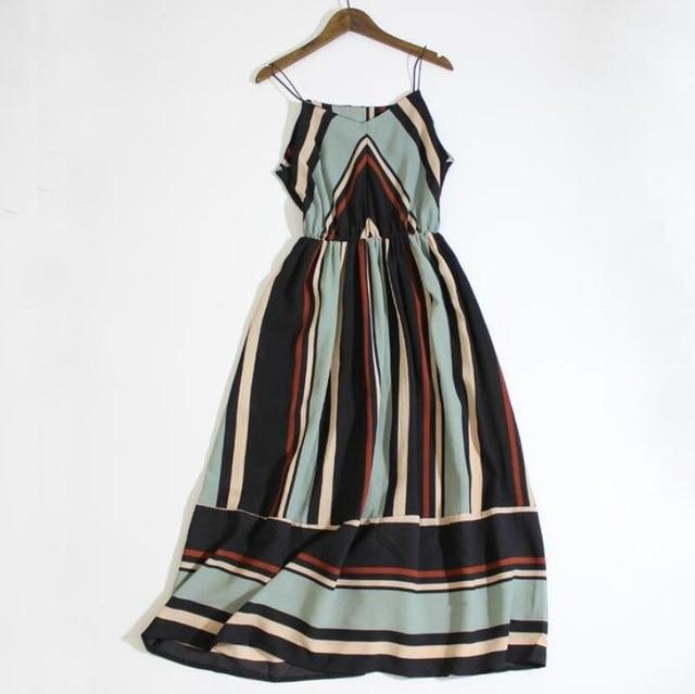 2019 Women summer holiday dress striped long dresses summer beach dress - Maverick Mall