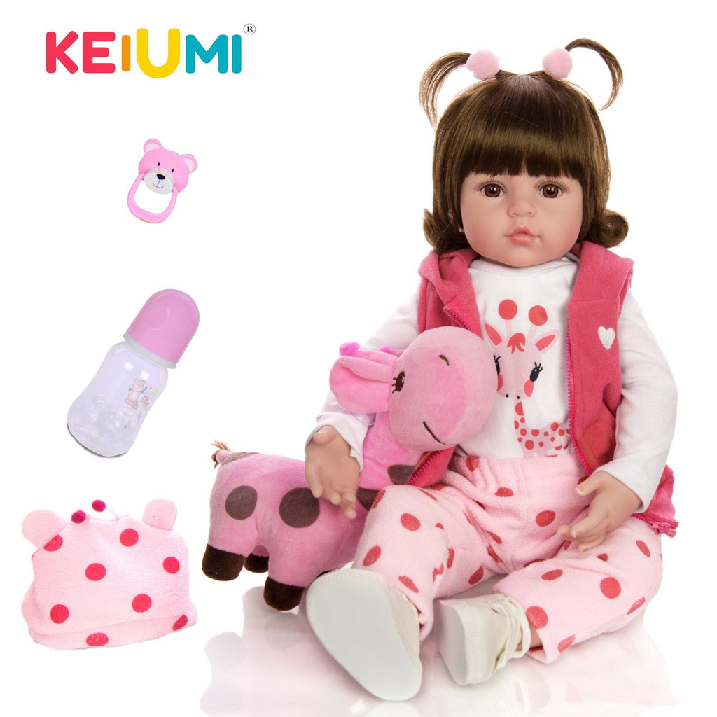 KEIUMI Hot Sale Reborn Baby Doll Toy Cloth Body Stuffed Realistic Baby Doll With Giraffe Toddler Birthday Christmas Gifts - Maverick Mall