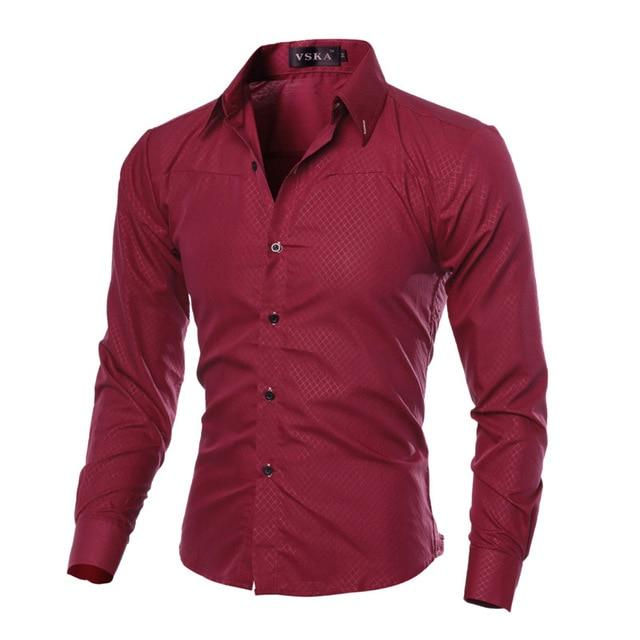 5XL Plus Size Brand-clothing Cotton Mens Clothing Solid Soft Men Shirt Long Sleeve Mens Shirts Casual Slim Fit Hot Sale- Maverick Mall