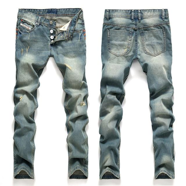 AIRGRACIAS Jeans Men Classic Mens Jeans Blue Color Cotton Ripped Hole Jeans For Men Brand Designer Biker Jean Long Pants - Maverick Mall