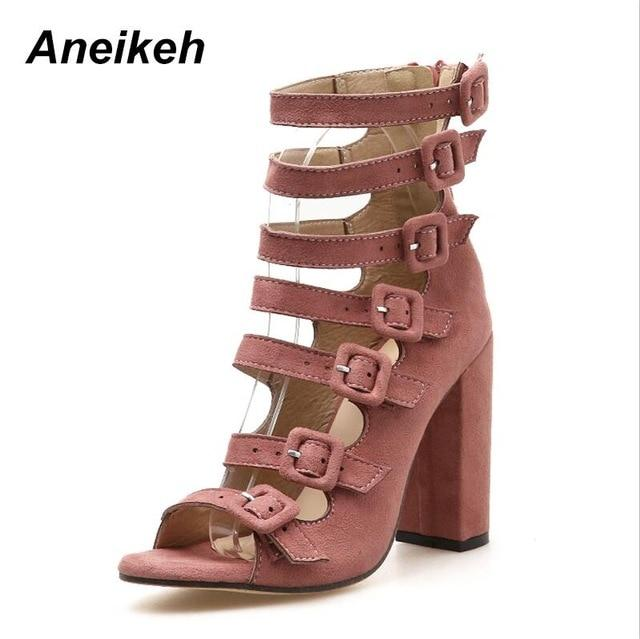 Aneikeh 2018 New Autumn Fashion Shoes Woman Sexy Fish Head Hollow Belt Buckle Thick Heels Peep Toe Sandals Gladiator Boots - Maverick Mall
