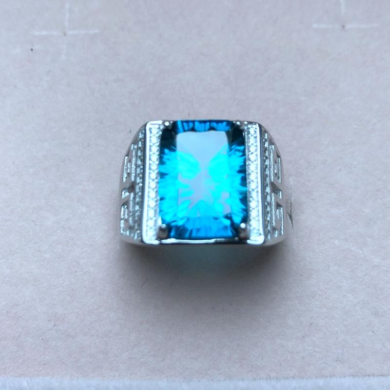 Atmospheric men's ring, 925 silver, a variety of topaz, photo taken. Manufacturing, new process - Maverick Mall