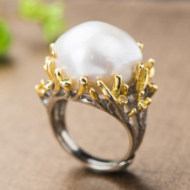 Baroque Pearl Ring Real 925 Sterling Silver Exaggerated Creative Flower Natural Freshwater Pearl Rings For Womens Jewelry - Maverick Mall
