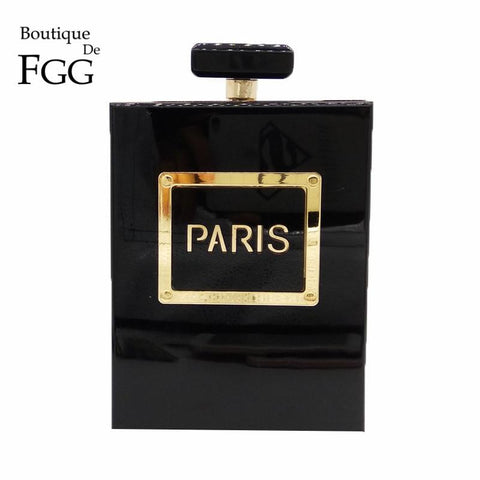 Boutique De FGG Women Fashion Clutches Purse Perfume Bottle Crossbody Shoulder Bags Laides Black Acrylic Box Clutch Evening Bag- Maverick Mall