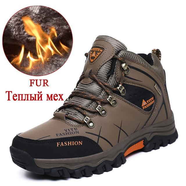 Brand Men Winter Snow Boots Warm Super Men High Quality Waterproof Leather Sneakers Outdoor Male Hiking Boots Work Shoes 39-47 - Maverick Mall
